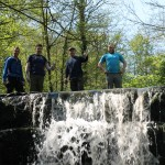 3rd May 2014 - The lads at Roache Abbey waterfall.