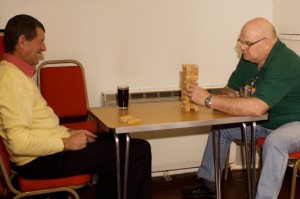 Stuart and Johnno on the Jenga.
